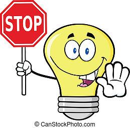 bulbo, luz, parada, segurando, sinal