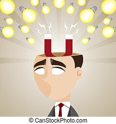 bulbo, magnetico, idea, cartone animato, uomo affari