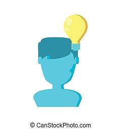 bulbo, maschio, silhouette, luce