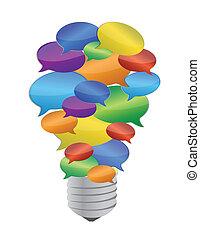 bulbo, mensagem, bolha, coloridos