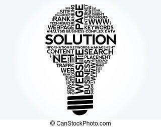 bulbo, palavra, solução, nuvem