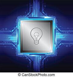 bulbo, símbolo, ligado, computador, processador