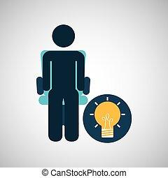 bulbo, silhouette, idea, uomo affari