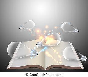 bulbo, sobre, livro, abertos