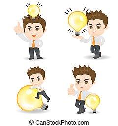 bulbo, uomo, affari, luce