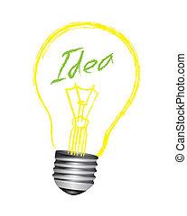bulbo, vettore, idea, luce