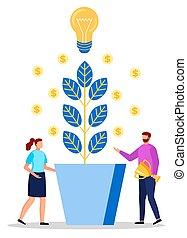 bulbo, vettore, moneta, impiegato, luce, pianta