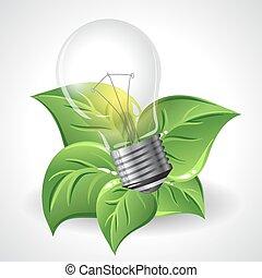 bulbos, conceito, poupar, poder, luz, energia, -, verde