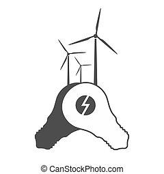 bulbos, gerador, luz, vetorial, moinho, vento