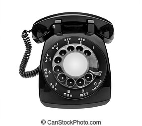 Bulbous black dial phone, isolated