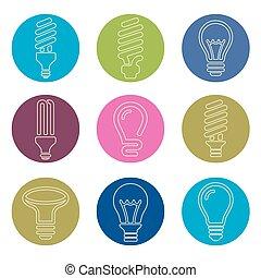bulbs., θέτω , εικόνα , βολβός , ελαφρείς