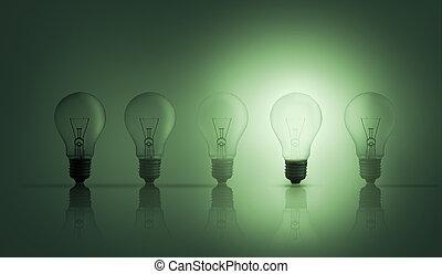 bulbs, легкий, один, освещенный, u, ряд