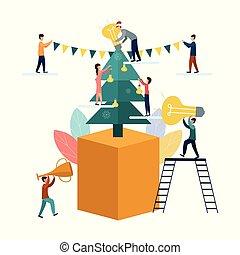 bulbs., קשט, אנשים, דוגמה, להסתכל, רעיונות, קטן, חג המולד, לבן, דירה, עץ, אנשי עסקים, חדש, וקטור, רקע, מנורות