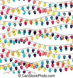 bulbs., coloreado, guirnalda, patrón, seamless, feriado, brillante