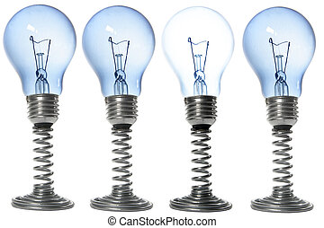 Bulbs - Lightbulbs on stands with one brighter than the...