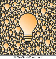 bulbs., lumière, concept., créativité, idées, vecteur, fond