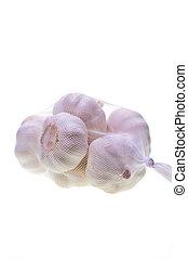 Bulbs of garlic in a bag