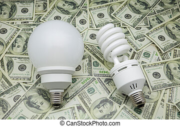 bulbs of low consumption on dollars