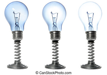 Bulbs - Three lightbulbs on stands with varying brightnesses