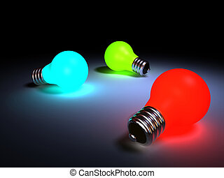 Three lighting colored bulbs - rendered in 3d