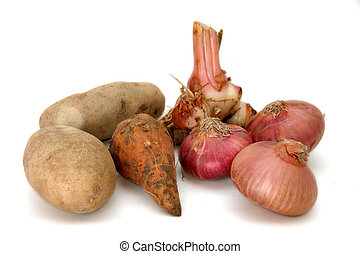 Bulbs & tuber - Potatoes, sweet potato and red onions