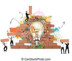 bulding, a, 新, 創造性, 想法