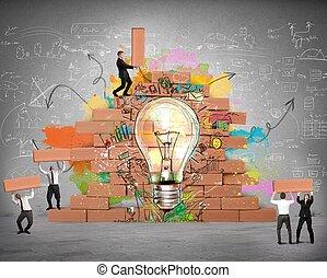 bulding, a, färsk, skapande, idé