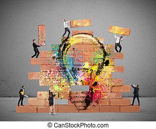bulding, uno, nuovo, creativo, idea
