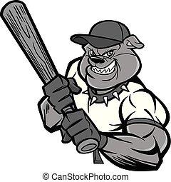 buldog, gracz, baseball, ilustracja