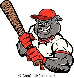 buldog, gracz, baseball