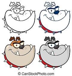 buldog, pies, głowa, rysunek, maskotka, character., zbiór