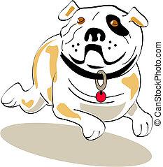 buldogue, arte gráfica, cão, clip