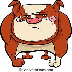 buldogue, cão, caricatura, animal, personagem