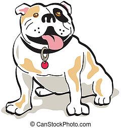 buldogue, cão, corte arte, gráfico