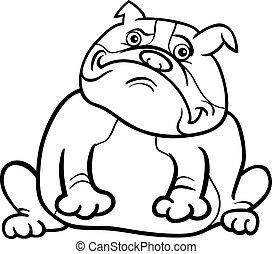 buldogue inglês, cão, caricatura, para, tinja livro