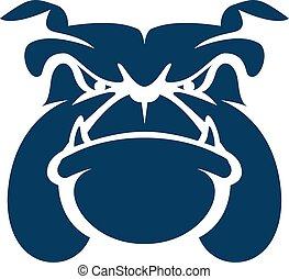 buldogue, logotipo, cabeça, caricatura, mascote