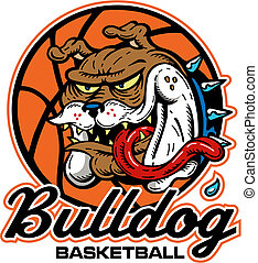 buldogue, logotipo, loucos, basquetebol