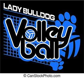 buldogue, senhora, voleibol