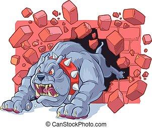 buldogue, zangado, parede, através, tijolo, bata, caricatura, mascote