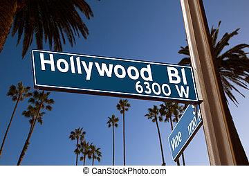 bulevar, árboles, señal, palma, ilustración, hollywood
