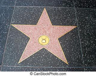 bulevar de hollywood, estrella, acera, vacío