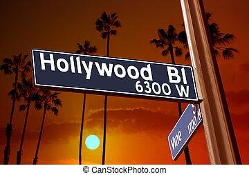 bulevar, vid, árboles, señal, palma, ilustración, hollywood