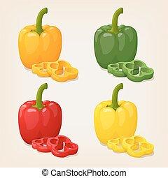 bulgare, ensemble, coloré, cloche, doux, jaune, vecteur, ...