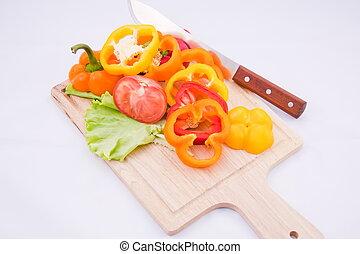 bulgare, planche, feuilles, poivre, salade verte, bois, doux, vert