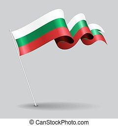 bulgare, vecteur, illustration., épingle, flag., ondulé