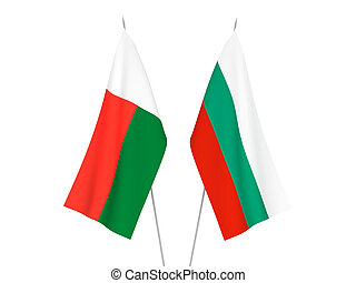 Bulgaria and Madagascar flags - National fabric flags of ...