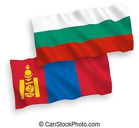 bulgaria, banderas, plano de fondo, blanco, mongolia