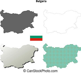 Bulgaria blank outline map set