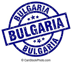 Bulgaria blue round grunge stamp