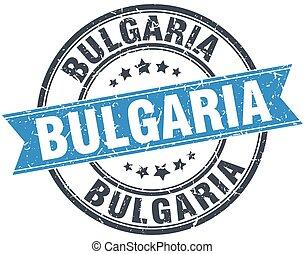 Bulgaria blue round grunge vintage ribbon stamp